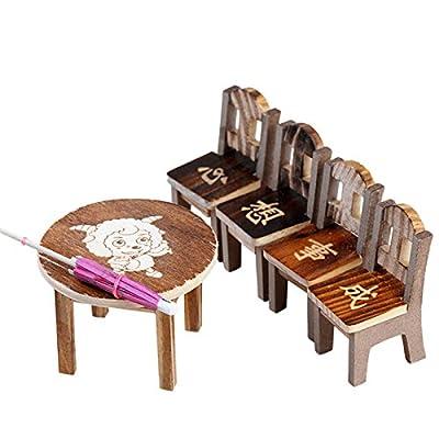 Datingday Miniature Fairy Mini Wooden 1 Set of 1 Desk Table 4 Chairs 1 Umbrella Dollhouse Garden Home Decor Ornaments(Picture Randomly)