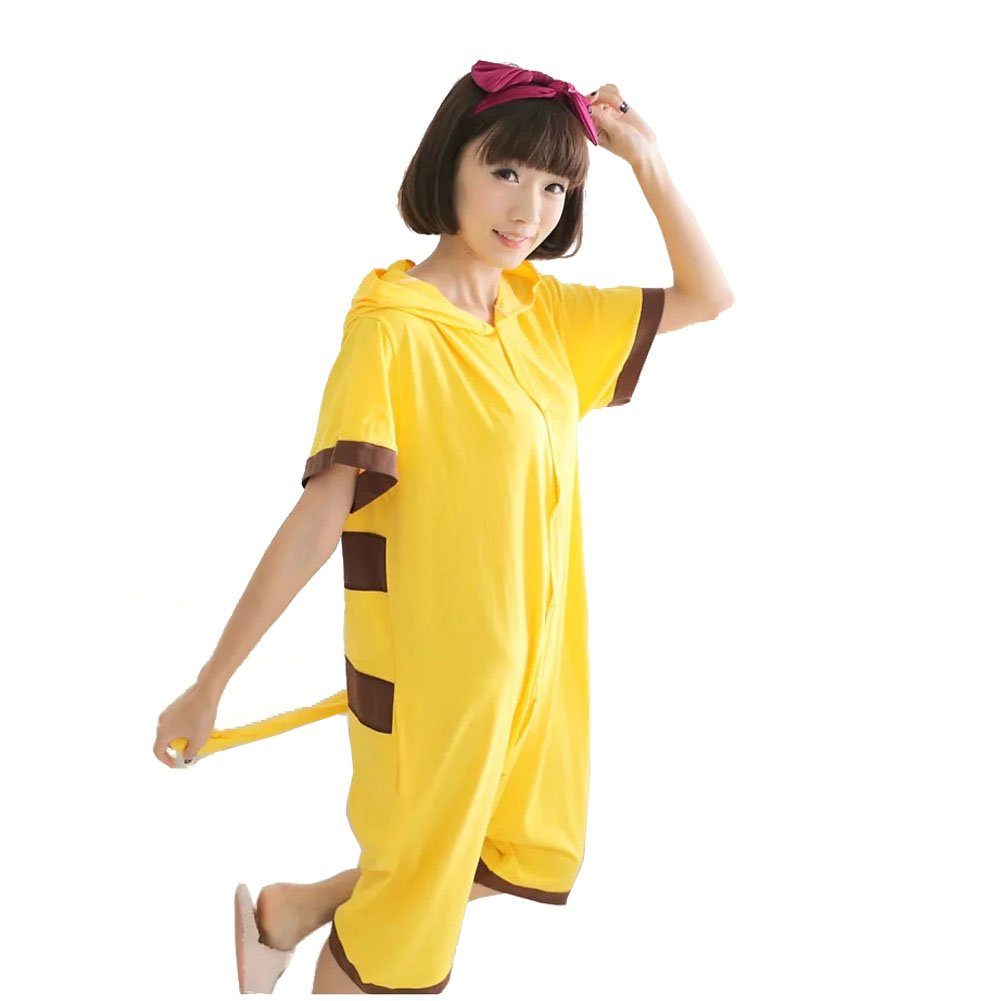 Yimidear Unisex Pikachu Costume Summer Cute Cartoon Cotton Pajamas Animal Onesie (XL) by Yimidear (Image #2)