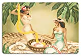 Pacifica Island Art 8in x 12in Vintage Metal Tin Sign - Twin Leimakers - Two Hawaiian Women making Leis by Gill