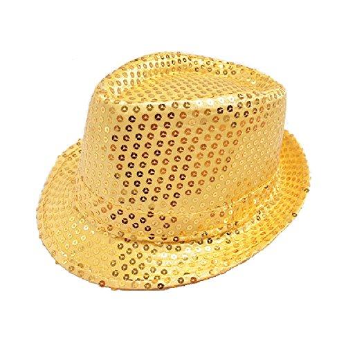 Hooyi Kids Bling Bling Show Dance Jazz Cap Costume Sequins Fedora Hat (Gold) ()