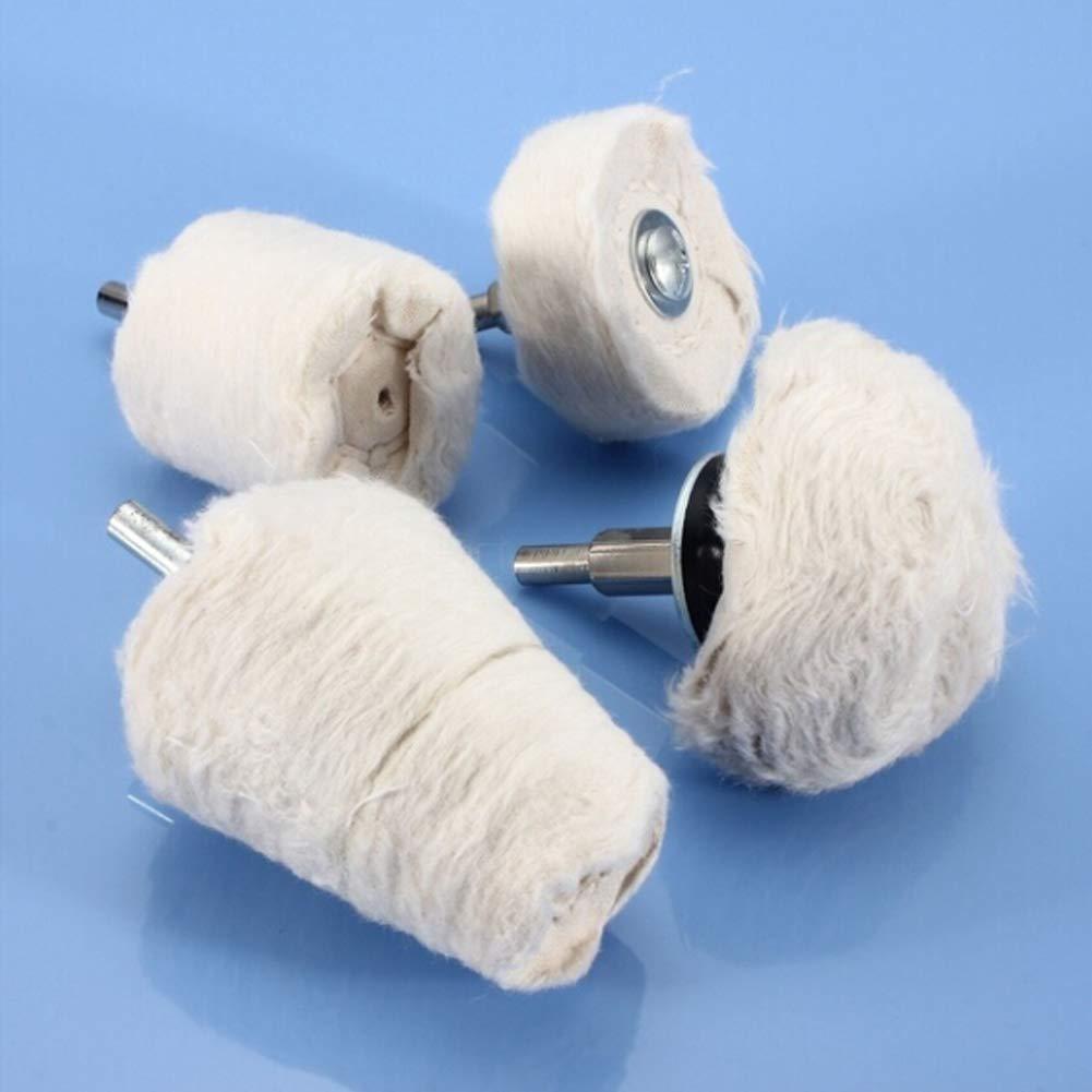 Mayyou 4Pcs White Polishing Wheel Mop Cone Buffing Wheel for Grinder Polisher Tool Cotton Cloth Buffing Buffer Polish Wheel