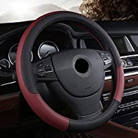 PU Leather Universal Car Steering Wheel Cover 15 inches or 38CM Burgundy color