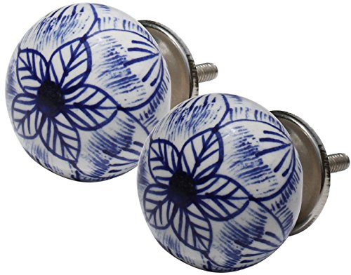 SouvNear 811778029137 Round Blue Hand Work Set of 2