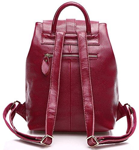Heshe® 2015 New Fashion Simple Style Lightweight Women Leather Backpack Daypack Preppy Vintage Multi Sling Shoulder Handbag Tote Traveling Purse for School (Rose)