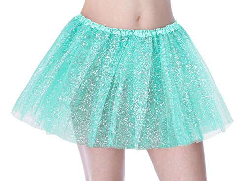 Tutu Women's Sequin Triple Layered Tulle Party Dance Ballet Skirt, Buish -