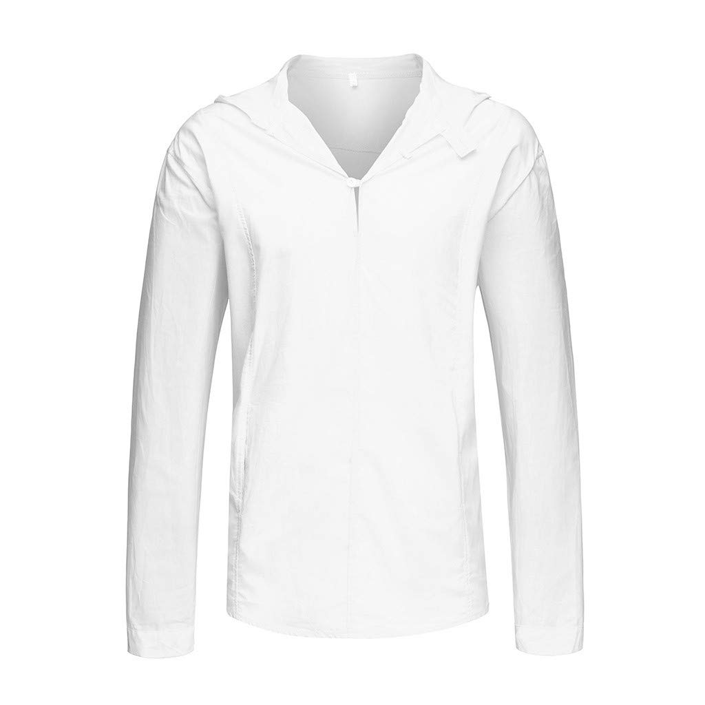 SFE Mens Fashion Shirts,Mens Cotton Linen Loose Solid Long Sleeve Hooded Top Shirt Pullover Blouse White by SFE-Summer Shirts (Image #2)