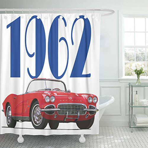 Semtomn Shower Curtain Corvette Vette Chevy 1962 Race Cars Sports 1960 Automobiles 72