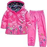 Naladoo Girl Boy Button Flowers Top + Pants Windbreaker Set Waterproof Raincoat