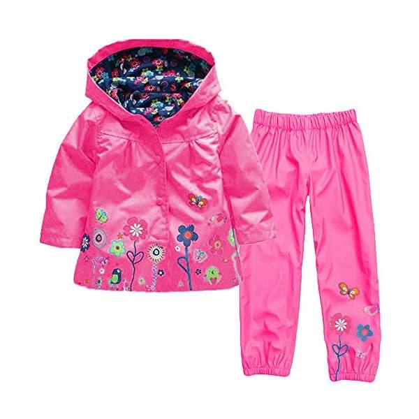 luoluoluo Bambina Abbigliamento,Completini Bimba,Bambina Impermeabile Ragazza Pioggia Giacca Stampare Cappotto con… 1