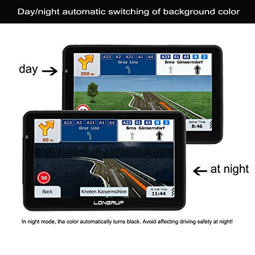 LONGRUF Car GPS Navigation 7-inch Touch Screen Built-in 8BG 128MB GPS Navigation System Map Free Lifetime Update