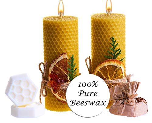 Beeswax Gifts 100% Beeswax Candles Gift Box Set of 2 Scented Pillar Candles Size 4.3 x 1.5 in (11 x 4 cm) and 2 Shea Butter Soaps for Gift and Home Decor ()