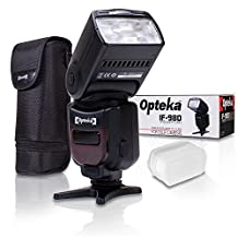 Opteka I-TTL AF Dedicated Flash (IF-980) with Stand + Pouch + Diffuser + Microfiber for Nikon D4S, D4, D3X, D810, D800, D750, D610, D7200, D7100, D5500, D5300, D5200, D3300, D3200 Digital SLR Cameras