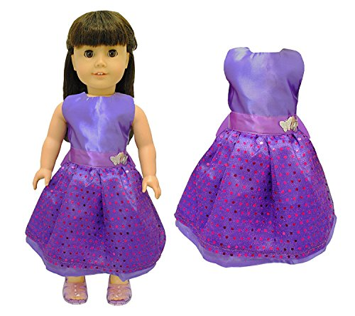 Pink Butterfly Closet Doll Clothes - Beautiful Purple Dress with Dots Outfit Fits American Girl Doll, My Life Doll and 18 inch dolls