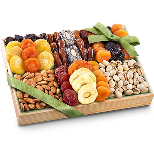 Golden State Fruit Pacific Coast Deluxe Dried Fruit Tray with Nuts Gift (Dried Fruits Basket)