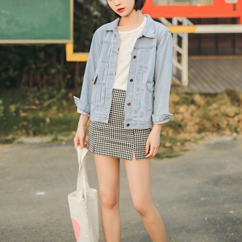 Di Denim Jeans Donna Cappotti Chiaro Azzurro Giacche Giacca Eleganti Giubbino ZT5nT1qHf