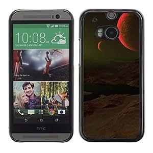 Dos Lunas Rojas - Metal de aluminio y de plástico duro Caja del teléfono - Negro - HTC One M8