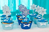 Snowflake cupcake wrappers and personalized toppers (Set of 12)