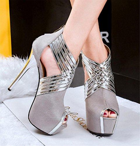 Damen Sexy Sandalen Stilett Hoch Hacke Schuhe Plattform Kreuz Riemen Wildleder Schwarz Party Kleid Nachtclub GRAY