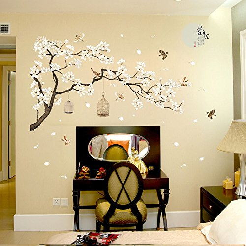 Amaonm Chinese Style White Flowers Black Tree and Flying Birds Wall Stickers Removable DIY Wall Art Decor Decals Murals… 2