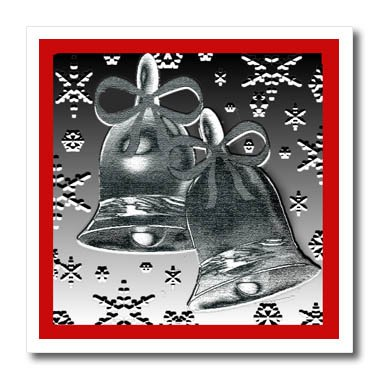 3dRose Dawn Gagnon Photography and Designs-Holidays - Silver Bell design with red border and snowflakes - 6x6 Iron on Heat Transfer for White Material (Red Dawn Border)