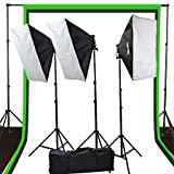 Fancierstudio 2400 watt lighting kit softbox light kit video lighting kit with Background stand 6'x9' Black, White and Chromakey green backdrop by Fancierstudio UL9004S3 6x9BWG