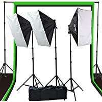 Fancierstudio 2400 watt lighting kit softbox light kit video lighting kit with Background stand 6x9 Black, White and Chromakey green backdrop by Fancierstudio UL9004S3 6x9BWG