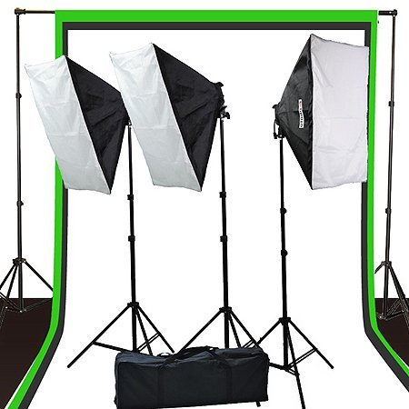 Fancierstudio 2400 watt lighting kit softbox light kit video lighting kit with Background stand 6'x9′ Black, White and Chromakey green backdrop by Fancierstudio UL9004S3 6x9BWG