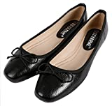 SFNLD Women's Elegant Square Toe Low Cut Bow Slip On Ballet Flats Shoes Black 7.5 B(M) US