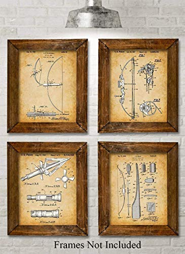 Original Hunting Bow Patent Prints - Set of Four Photos (8x10) Unframed - Makes a Great Gift Under $20 for Archers and Bow Hunters (Hunting Star)