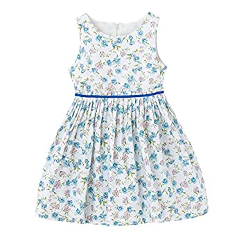 1707a117a0 Zyka Baby Girls Sleeveless Vintage Cotton Blue Floral Pattern Summer Frock,  Girls Daily Wear Cotton