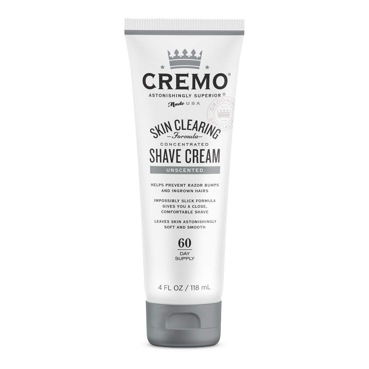 Cremo Unscented Shave Cream With Skin Clearing Formula, Helps Prevent Razor Bumps, Blemishes and Ingrown Hairs, 4 Fluid Ounces