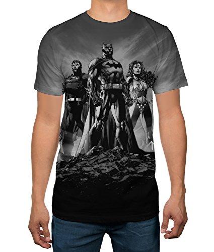 Justice League Batman Wonder Woman Superman Portrait Mens T-Shirt (Medium) - Justice Portrait