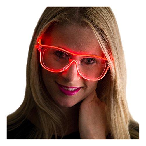 Neon Nightlife Red Frame/Clear Lens Wayfarer 55mm Light Up Glasses