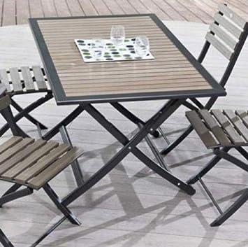 Table pliante 140x80 cm structure aluminium plateau bois composite + ...