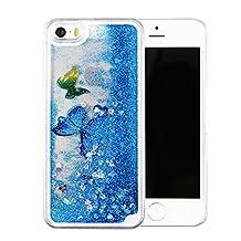 iPhone 6s plus case,liujie Liquid Cool Quicksand Moving Stars Bling Glitter Floating Dynamic Flowing Case Liquid Cover for Iphone 6s plus 5.5inch (butterfly blue)