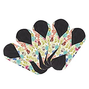 Reusable Cloth Menstrual Pads Reusable Bamboo Charcoal Sanitary Napkins, Sanitary Pads,Women Breathable Sanitary Napkins Set of 5 Pieces