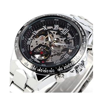 Reloj de acero - WINNER Hombre Esfera esqueleto negro Reloj de acero inoxidable de plata mecanico automatico Negro: Amazon.es: Relojes