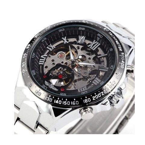 Reloj con maquinaria visible elaborado en acero inoxidable.Movimiento automático y correa de acero.