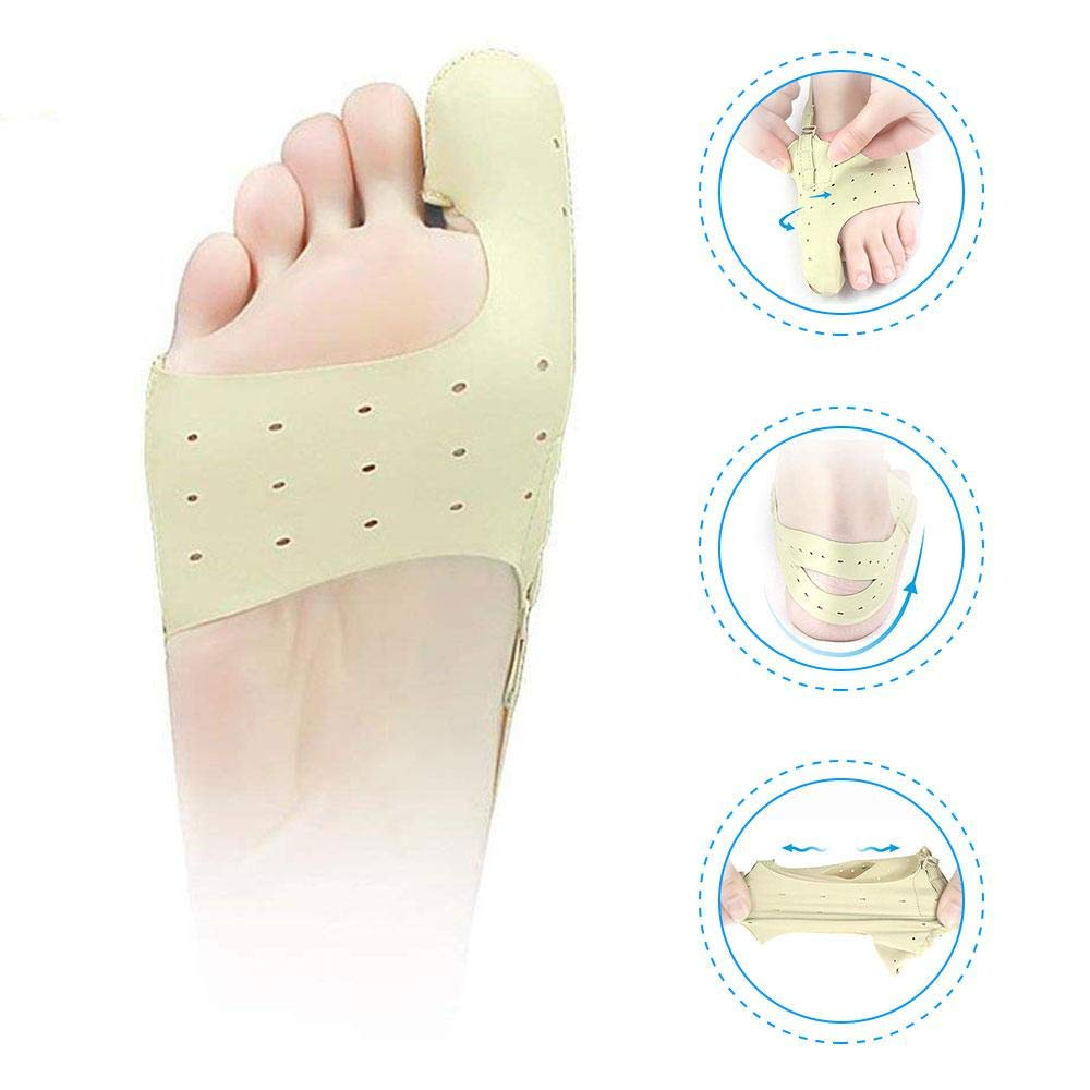 Orthopedic Bunion Corrector, Womdee Toe Bunion Straightener Big Toe Brace with Three Gear Force Adjustment & Elastic Breathable Cloth for Women Men Adults (Skin Color) (L)