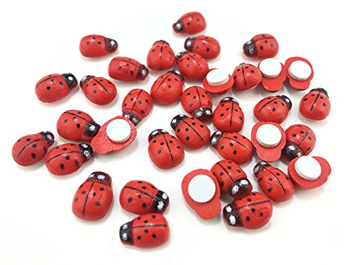 HoneyToys 180Pcs Painted Wooden Ladybug/Self Adhesive/Craft/Decorations/Home Decor/Plants 10x13mm (Red) (Wood Ladybug)