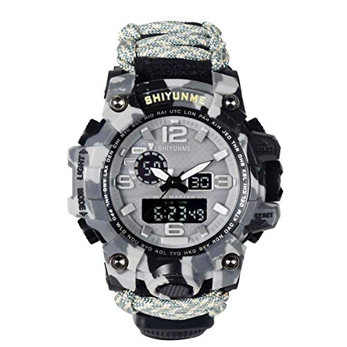 Men's Military Watch 50 Meters Waterproof Compass Watch Double Display LED Quartz Sports Watch Male relogios Masculino,Grey