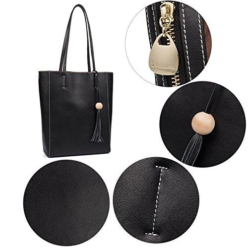 Designer Genuine black 2 Bag Ladies Shoulder Leather Women Handbag Tote BOSTANTEN Purse AqEX7w6