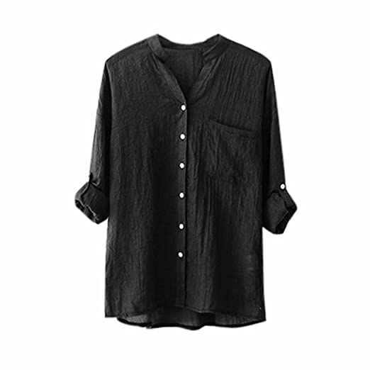 Verano Camisetas De Mujer 💝 Yesmile Blusa Las Mujeres Se Levantan Cuello Sólido Camisa de Manga