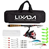 Lixada Telescopic Fishing Rod and Reel Combo Full Kit Spinning Fishing Reel Gear Pole Set with Fishing Lures,Fishing Hooks Jig Head,Fishing Carrier Bag Case