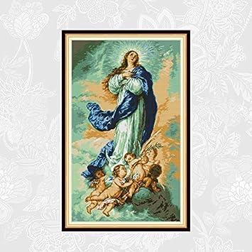 TRJGDCP DIY Kit de Punto de Cruz Venta La Virgen con ángeles Patrones Contado Hilo de algodón Bordado Hecho a Mano DIY decoración del hogar Punto De Cruz