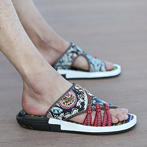 Playa Flops Británico Color Flip Lucha Traspasado Lin Sandalias Zapatillas De Tendencias Casual Vintage Xing Toe Hombre Calzado Open Verano Fondo Blando aHOPOZn