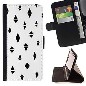For Samsung Galaxy S6 Case , Polígono Negro Modelo abstracto- la tarjeta de Crédito Slots PU Funda de cuero Monedero caso cubierta de piel
