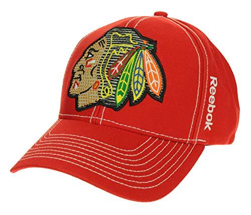 NHL Mens Chicago Blackhawks Big Logo Adjustable Structured Flex Hat, Red, One Size (Mens Reebok Hats)
