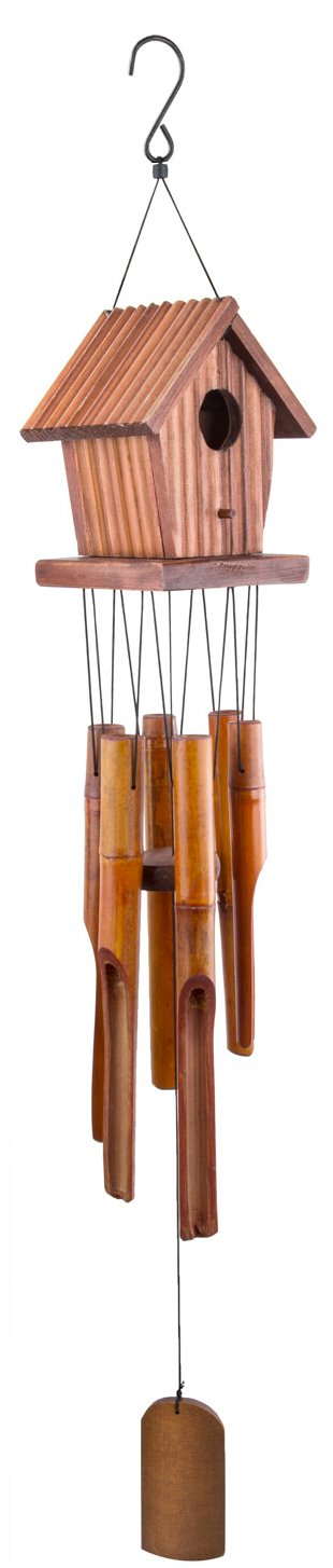 WOODMUSIC Wind Chimes Outdoor, 37'' Large Birdhouse Windchimes Amazing Grace with 6 Bamboo for Garden, Patio, Balcony Indoor & Outdoor