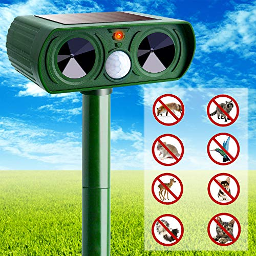 Ultrasonic Animal Repeller, Solar Powered Waterproof Outdoor with Ultrasonic Sound, Motion Sensor and Flashing Light for Cats, Dogs, Squirrels, Moles, Rats